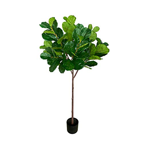 BESAMENATURE 6.3-feet Tall Artificial Fiddle Leaf Fig Tree / Faux Ficus Lyrata for Home Office Decoration