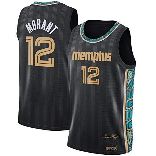 BPZ Jersey di Pallacanestro, JA Morant 12# Memphis Grizzlies NBA Maglie Cool Cool Traspirante Tessuto Training Shirt Shirt Ventilatore Senza Maniche,M (170~175CM / 65~75KG)