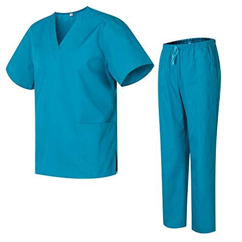 Uniforme Medica con Maglia e Pantaloni Uniformi Mediche Camice Uniformi sanitarie - L, Verde