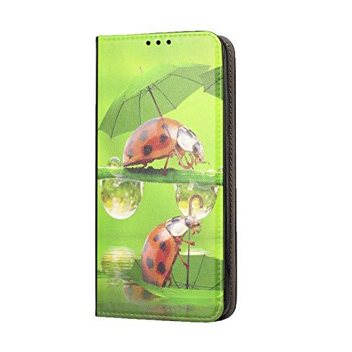 KX-Mobile, custodia per Nokia 2.3, motivo 1330, coccinella, felicità, rosso, verde, Premium Smart, in ecopelle stampata su un lato, per Nokia 2.3