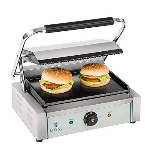 Royal Catering - RCKG-2200 - Elektro-Kontaktgrill - 2200 Watt Leistung - Grillplatte unten glatt, oben geriffelt