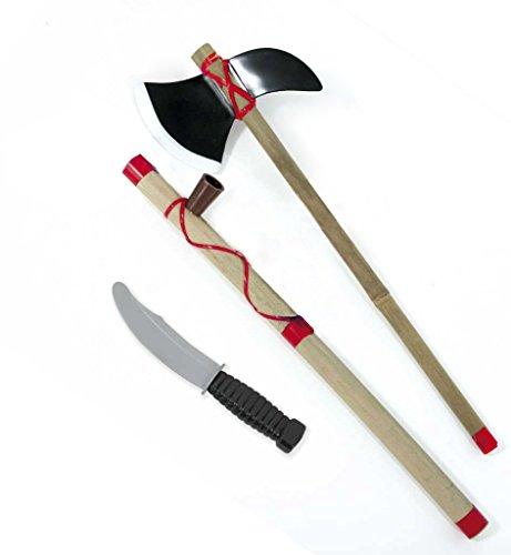 Indianer-Set 3-TLG. (Friedenspfeife, Tomahawk, Messer), Indainer, Karneval, Accessoires