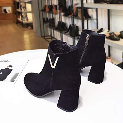 Shukun enkellaarsjes lente en herfst enkele laarzen zwart Martin laarzen hoge hak laarzen Women'S dik met Frosted Pu laarzen