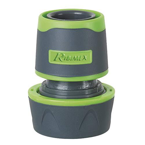 Ribiland 01405 - Raccord Automatique Plastique - Pour tuyau d'arrosage Diam19 mm - Gris / Vert