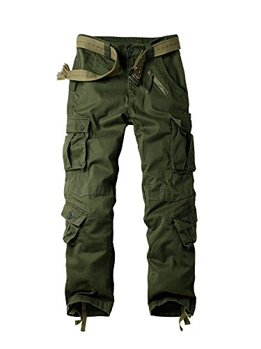 OCHENTA Men's Army Pants, Military Cargo Work Combat 8 Pockets Casual Trousers #3357 Army Green 32