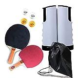Top WHY All-in-ONE Professionelles Ping-Pong-Paddelset, einziehbares tragbares verstellbares Tischtennisnetz und tragbares Sportgerät für Kinder Erwachsene...