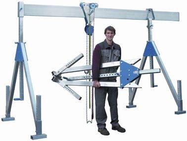 Alu-Portalkran, klappbar, Traglast: 1.000 kg, lichte Höhe: 1.260 - 2.360 mm, Gesamtbreite: 4.100 kg