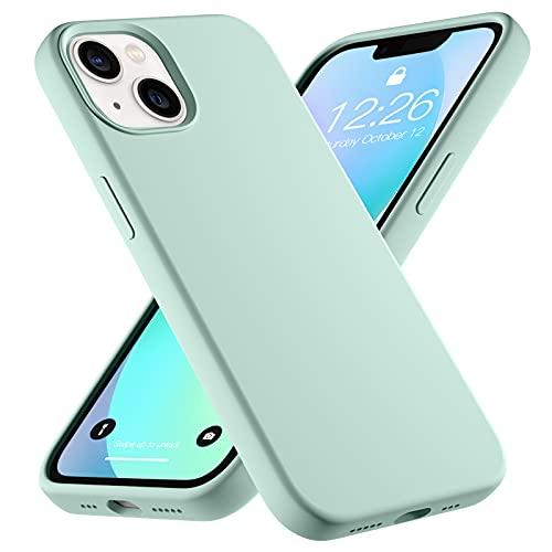 Upeak Liquid Silikon Hülle Kompatibel mit iPhone 13 Hülle 2021, 6.1 Zoll Anti-Schock Handyhülle DREI Schichten Komplette Schutzhülle Cover Bumper für Damen Herren, Blau Grün