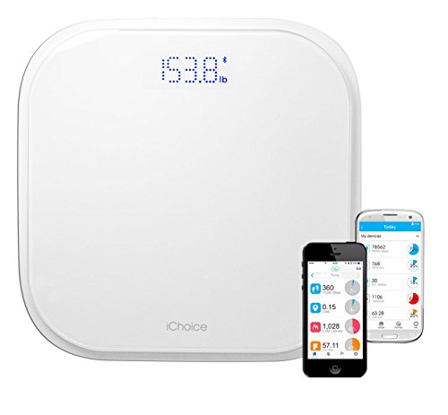 Ionic iChoice Bluetooth Based Smart Scale Body Weight Machine with BMI Calculator and App for Android and iOS Devices Multiple Users (w/396 lb Capacity)