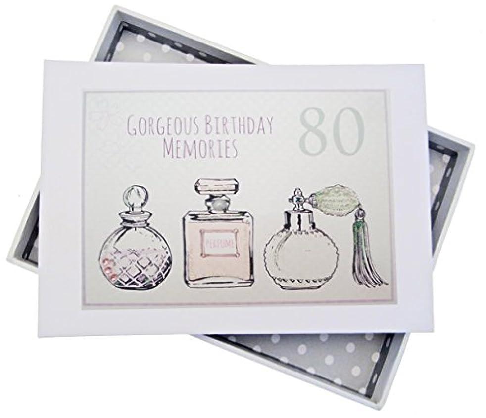 WHITE COTTON CARDS 80th Birthday, Mini Photo Album, Perfume Bottles, Wood, White, 12.5 x 17.5 x 2.5 cm