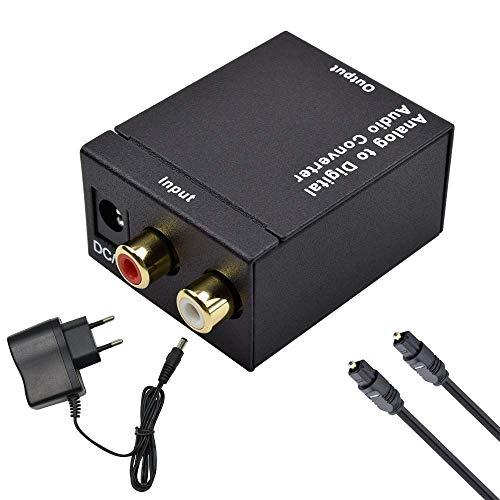 Ozvavzk Convertisseur Analogique Audio Stéréo L/R RCA vers Jack 3,5 mm Numérique SPDIF Optique Coaxial Toslink Adaptateur Audio