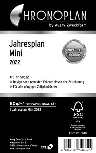 Chronoplan 50632 agendavulling 2022, jaarplan mini (79 x 125 mm), reserve kalendarium, universele perforatie, om open te…