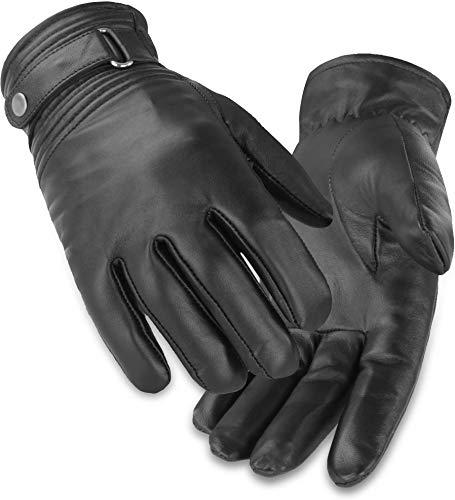 normani BW Bundeswehr Lederhandschuhe gefüttert für Damen und Herren mit Fleecefutter und Lederriemen am Handgelenk Größe L