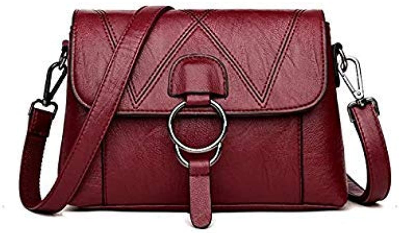 Bloomerang Ladies Genuine Leather Handbags Designer Luxury Bags for Women 2018 Women Messenger Shoulder Bag Top-Handle Bags Flap Sac A Main color RED Wine