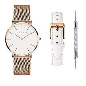 Hannah Martinシンプルな女性腕時計、ステンレススチール時計3気圧防水日本製クォーツムーブメント超薄型 (ローズゴールドケース+ホワイトダイヤル)
