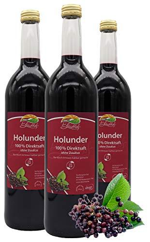 Bleichhof Holundersaft - 100% Direktsaft, naturrein und vegan, OHNE Zuckerzusatz, 3er Pack (3x 0,72l)