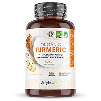 Organic Turmeric Curcumin with Black Pepper & Ginger 1520MG - 180 Capsules (3 Month Supply) - High Strength Turmeric Powder Tablets for Joints & Bones, Discomfort, Balances Stomach - Vegan Friendly