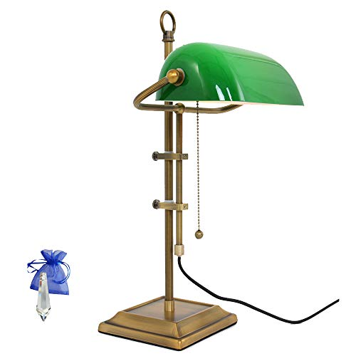 Banker Tischleuchte Bronze E27 Schreibtischleuchte Büroleuchte Bankerlampe Tischlampe Retro Vintage 7961BR + Giveaway