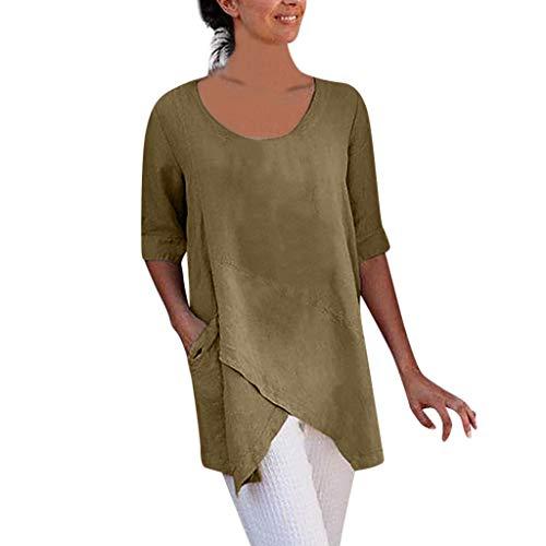 Berimaterry Damen Oversized Hemd Einfarbig Cross Unregelmäßig Longshirt T-Shirt Frauen Kurzarm Shirt Casual Große Größe Rundhals Tshirt Tunika Bluse Leinenshirt