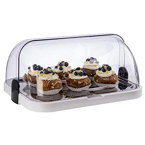 APS Buffetvitrine – Beidseitig aufklappbare, transparente Rolltophaube, eine Schale, EIN rostfreies Edelstahl-Tablett, sowie Zwei Kühl-Akkus – Made in Germany