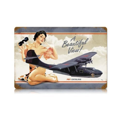 PBY Beautiful Vintage Metal Sign Pinup Girl Aviation Aircraft 12X18Steel Not Tin by The Vintage Sign Store
