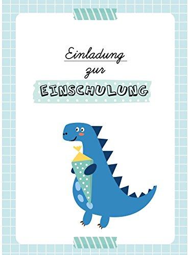 dabelino Einladung Einschulung: 6X Einladungskarten + Umschläge zur Einschulung: Dino/ Schultüte für Jungen (blau/ grün)