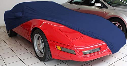 Vollgarage Mikrokontur® Blau mit Spiegeltaschen für Chevrolet Corvette C4, schützende Autoabdeckung mit perfekter Passform, hochwertige Abdeckplane als praktische Auto-Vollgarage
