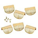TRYAH 6 Pieces Leaf Shaped Cabinet Pulls Knobs Alloy Decorative Furniture Handles with Mounting Screws for Kitchen Cupboard Cabinet Wardrobe Drawer Door