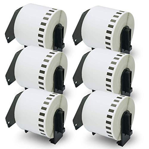 "BETCKEY - Compatible DK-2205 Continuous Length 2-3/7"" x 100'(62mm x 30.48m) Replacement Labels,Compatible with Brother QL Label Printers [6 Rolls with Refillable Cartridge Frame]"