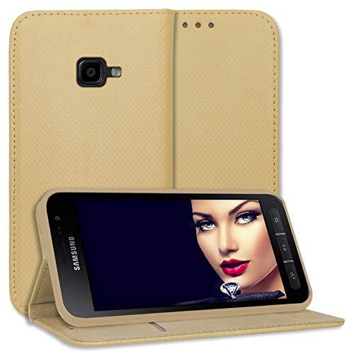 mtb more energy® Schutz-Tasche Bookstyle für Samsung Galaxy Xcover 4, 4S (SM-G390F, G398F / 5.0'') - Gold - Kunstleder - Klapp-Cover Hülle Hülle