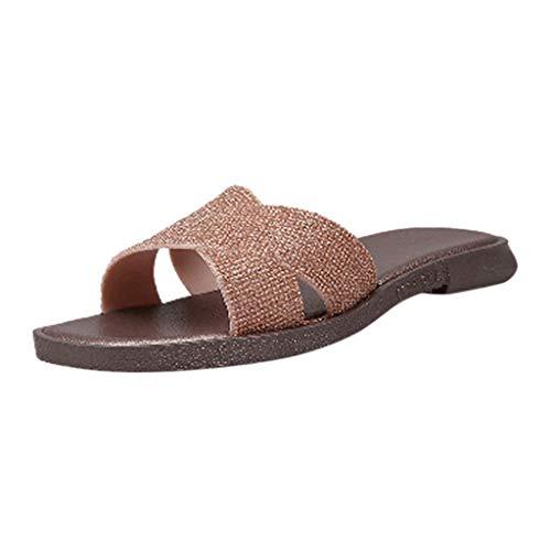 Damen Hausschuhe Sommerschuhe Strandschuhe Badeschuhe Outdoorschuhe Wasserdicht Frauen Mädchen Sommer Flip Flops Schuhe Flach Sandalen Slipper mit rutschfest Weiche Sohle (EU:36, Gold)