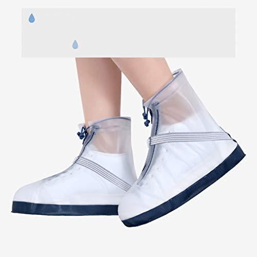 JERPOZ Überziehschuhe Überschuhe Regen Regen Regen Und Schnee Mobil Erwachsene Männer Und Frauen Tragen Dicke Bodenschuh Regen Transparent Weiß Regenstiefel (Size : XL)