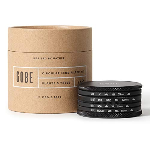 Gobe - Kit filtri per obiettivi 55 mm UV, polarizzatore circolare (CPL), ND8, ND1000 (2Peak)