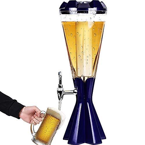 REAWOW - Dispenser per torre di birra, 3 l, con tubo di ghiaccio e luci a LED, per feste in cucina