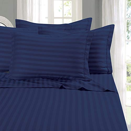 Elegant Comfort Best, Softest, Coziest 6-Piece Sheet Sets! - 1500 Thread Count Egyptian Quality Luxurious Wrinkle Resistant 6-Piece Damask Stripe Bed Sheet Set, Queen Navy Blue