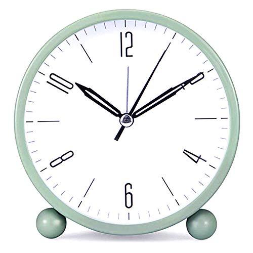 Analog-Wecker für den Nachttisch, geräuschlos, analog, klein, leicht, Reisewecker, Mini-Quarzwecker, runder beleuchteter Metallwecker (grün)