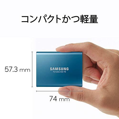 SamsungT5500GBUSB3.1Gen2(10Gbps,Type-C)外付けSSD(ポータブルSSD)MU-PA500B/ITオーロラブルー国内正規保証品