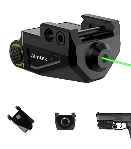 Aimtek Green Laser Sight for Rifle Pistol Handgun Weaver Picatinny Rail Dot Lazer Sight Tactical Airsoft Hand Gun Optic Sights (Green Dot)