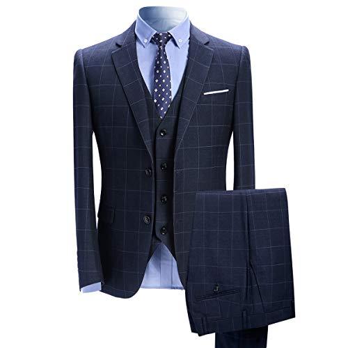 Costume Homme 3 Pièces Tuxedo Slim Fit à Carreaux Deux Boutons d'affaire Mariage Trois Pièces Veste+Gilet+Pantalon Bleu 2 M