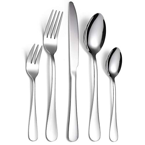 FZFHD Stainless Steel Cutlery Set Silver 30 Piece,Dinnerware Dinner Knife Fork Spoon Tableware Set Home,Flatware Set Dishwasher Safe Cutlery Set for 6 People