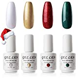 Gellen Gel Nail Polish Set - 4 Colors Christmas Holiday (Forest Green, Flame Red, Sparkle Gold, Snow White) Popular Gel Nail Art Colors Home Manicure Kit