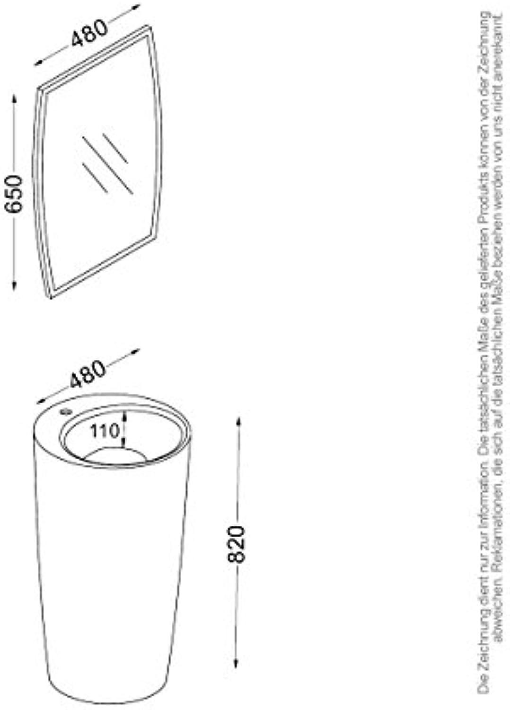 KZOAO-Badeset Waschsule IV + Spiegel, Oberflche Matt