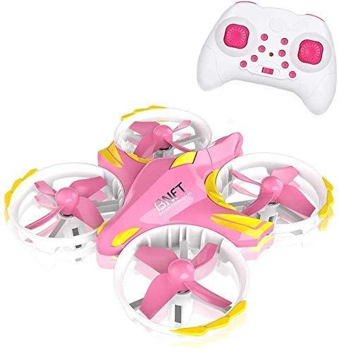 J-Love Mini Drone per Bambini, Elicottero telecomandato UFO quadricottero RC con modalità Senza Testa 2.4G 4CH One Key Return Flying Toys for Boys Girls Interaction (Colore: Rosa + Giallo)