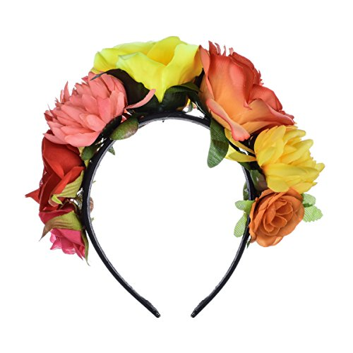 DreamLily Frida Kahlo Mexican Flower Crown Headband Party Costume Dia de Los Muertos Day of The Dead Headpiece NC12 (Orange Yellow Rose)