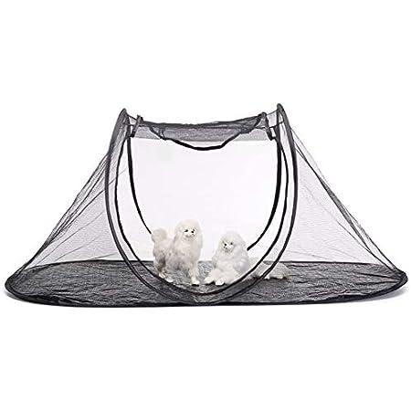 AQUAPETZWORLD Pet Tent Mosquito Net, Foldable Portable Kennel Tent Pet House Popup Theater Tent Deck, Patio, Porch, Courtyard, Balcony and RV Travel Random Color