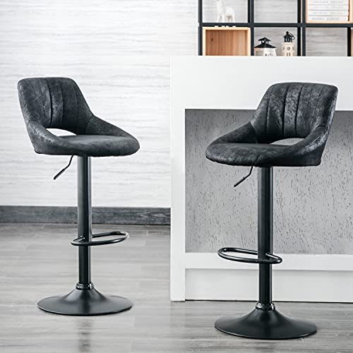Volans Set of 2 Adjustable Barstools, Vintage Faux Leather Upholstery Kitchen Counter Height Swivel Bar Stool Chairs with Back, Black