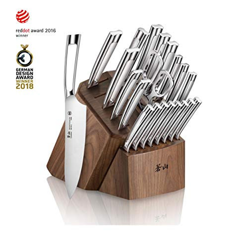 Cangshan N1 Series 1022377 23-Piece German Steel Forged Knife Block Set, Walnut Block