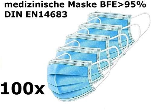 100x (5x20) medizinische Einweg Masken EN14683 TYP I mit 95% BFE - Gesichtsmaske - Einwegmaske Mundschutz Staubschutz mit Ohrschlaufen Marke JOINTO Medical