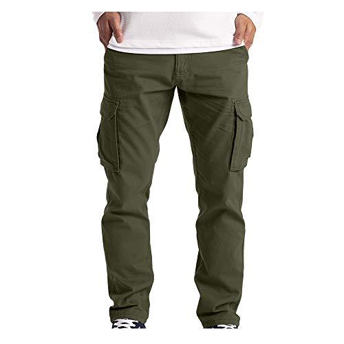 TTivxe Cargohose aus Baumwolle Herren Jogginghose,Freizeithose Lange Regular Fit Hose Outdoorhose Wanderhose Trekkinghose mit Taschen(Army Green,XXXXXL)