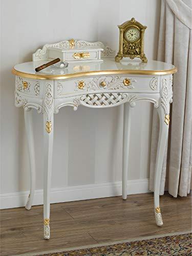 SIMONE GUARRACINO LUXURY DESIGN Consolle Kendra tavolino 2 cassetti Stile Barocco Decape Avorio e Foglia Oro